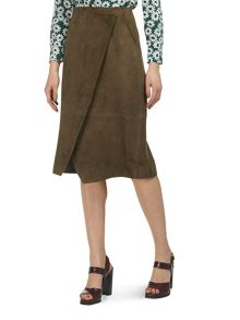 Whistles Asymmetric Wrap Suede Skirt