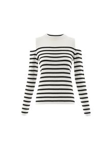 Whistles Stripe Cold Shoulder Knit