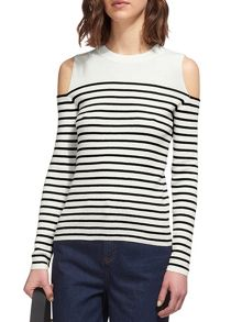 Stripe Cold Shoulder Knit