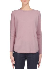 Whistles Cashmere Ribbed Sleeve Knit