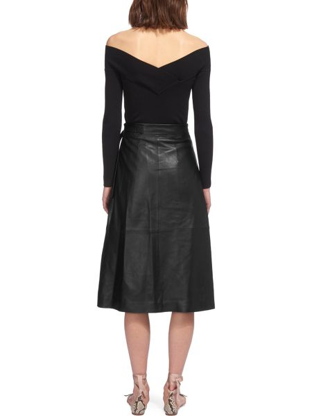 Whistles Wrap Leather Midi Skirt