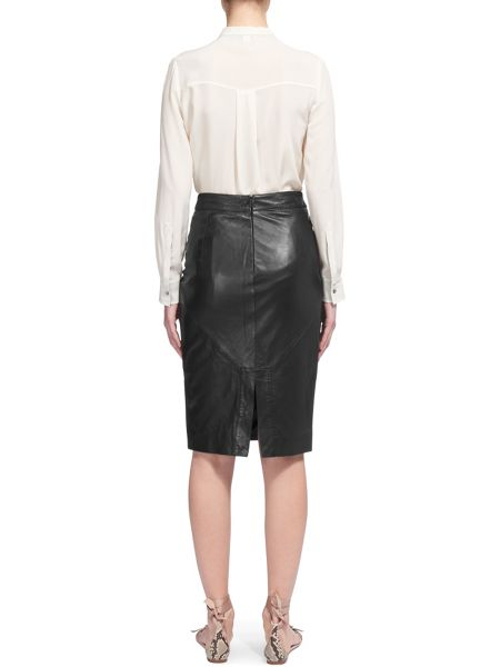 Whistles Kel Leather Pencil Skirt