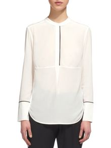 Whistles Tipped Detail Silk Blouse