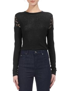 Whistles Wool Mix Lace Insert Top