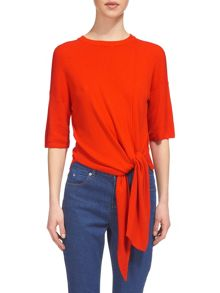 Whistles Tie Front Rib Knit T-shirt