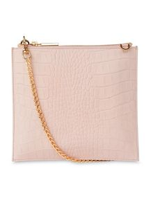 Whistles Matte Croc Perry Chain Clutch