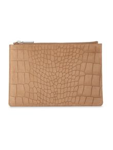 Whistles Suede Croc Small Clutch