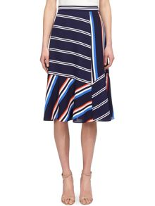 Whistles Multi Stripe Asymmetric Skirt