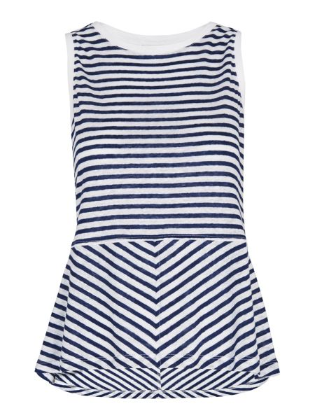 Whistles Linen Stripe Peplum Top
