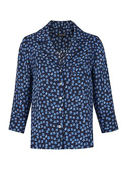 Star Print Silk Shirt