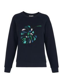Whistles Leaf Embroidered Sweat