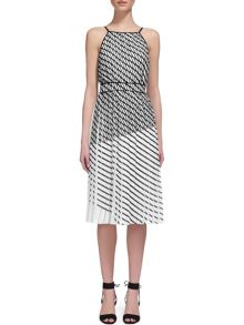 Whistles Pleated Print Strappy Dress