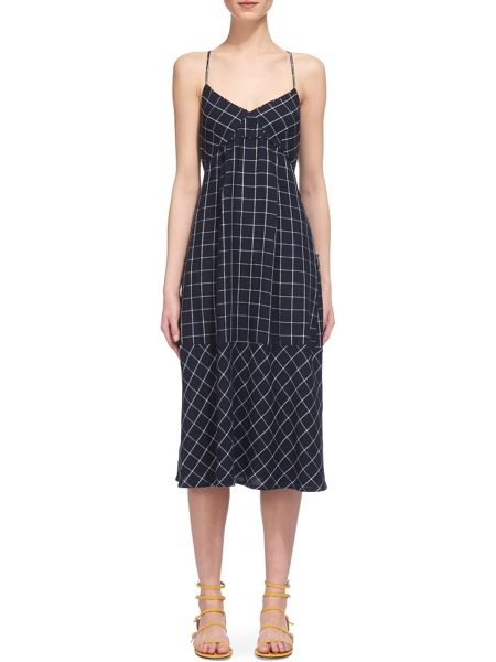 Whistles Maria Linen Swing Check Dress