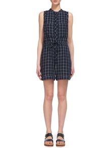 Whistles Check Linen Playsuit