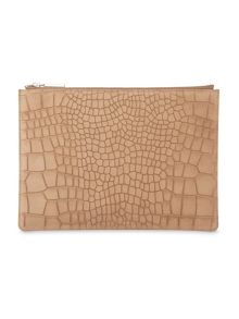 Whistles Suede Croc Medium Clutch