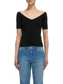 Whistles V Neck Bardot Top