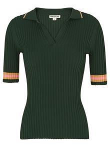 Whistles Tipped Stripe Polo Knit