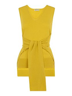 Tie Front Sleeveless Knit