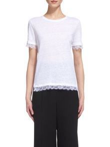 Whistles Lace Trim Linen T-shirt