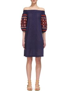 Whistles Lila Embroidered Bardot Dress