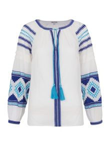 Whistles Karen Embroidered Detail Top