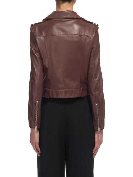 Whistles Maya Cropped Leather Biker