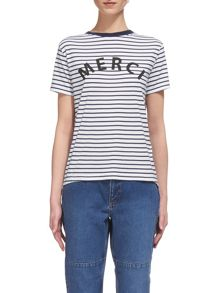 Whistles Merci Stripe Logo T-shirt