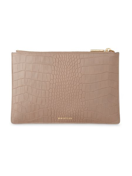 Whistles Matte Croc Small Clutch
