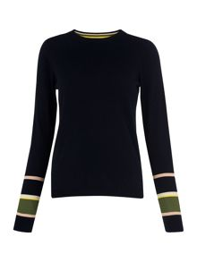 Whistles Stripe Cuff Crew Neck Knit