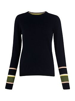 Stripe Cuff Crew Neck Knit