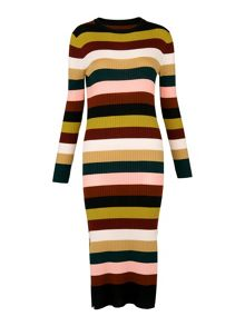 Whistles Multi Stripe Rib Knit Dress