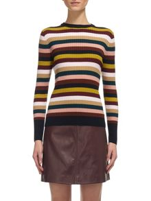 Whistles Multi Stripe Rib Knit