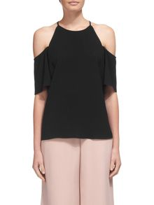 Whistles Cold Shoulder High Neck Top