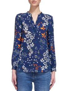 Whistles Bluebell Print Silk Blouse