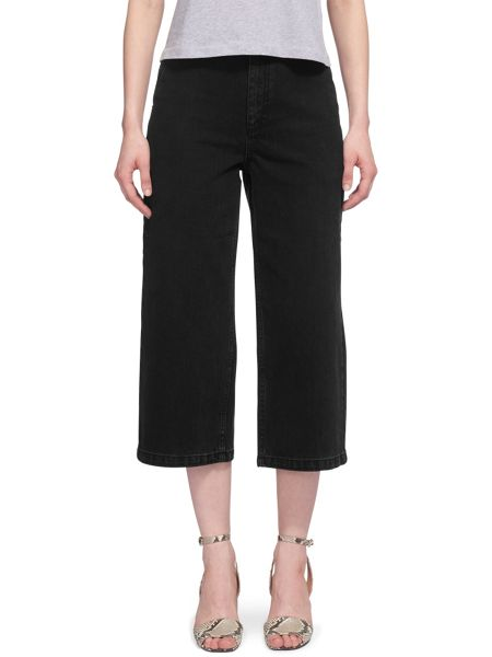 Whistles Washed Wide Leg Cropped Jean