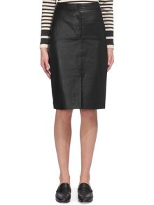 Whistles Button Leather Pencil Skirt