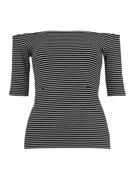 Whistles Short Sleeve Stripe Bardot Top