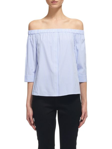 Whistles Stripe Cotton Bardot Top