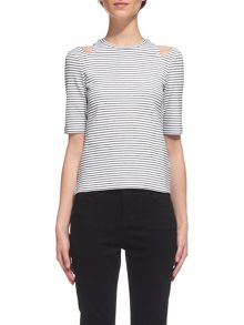 Whistles Split Shoulder Stripe Top
