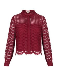 Whistles Penny Crop Lace Shirt