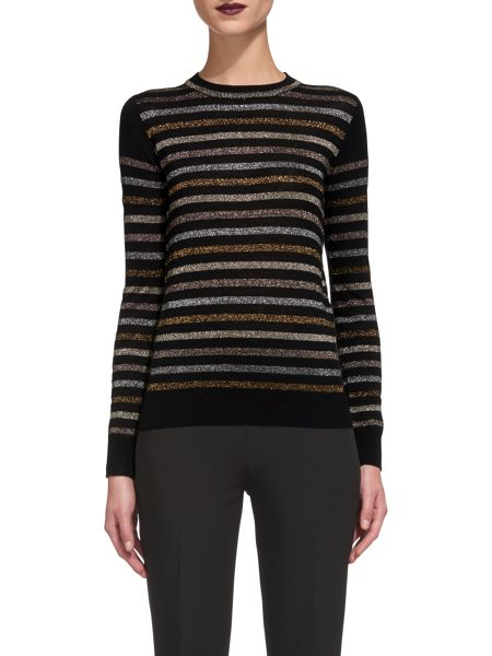 Whistles Stripe Sparkle Crew Neck Knit