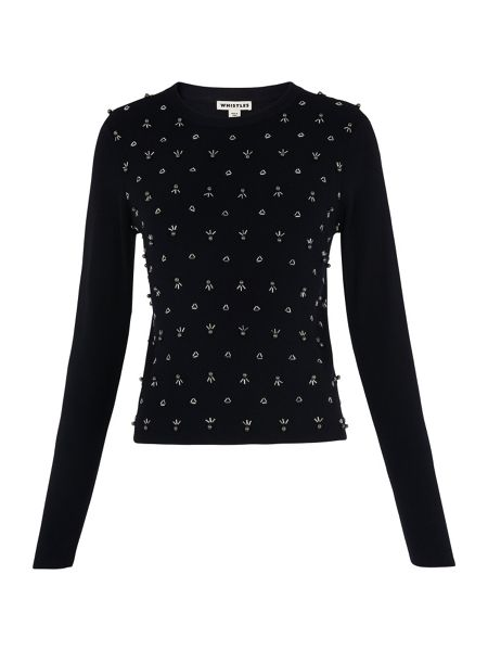 Whistles Beaded Cropped Sweater