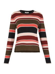 Whistles Stripe Split Front Sweater