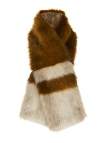Whistles Duvall Stripe Faux Fur Scarf