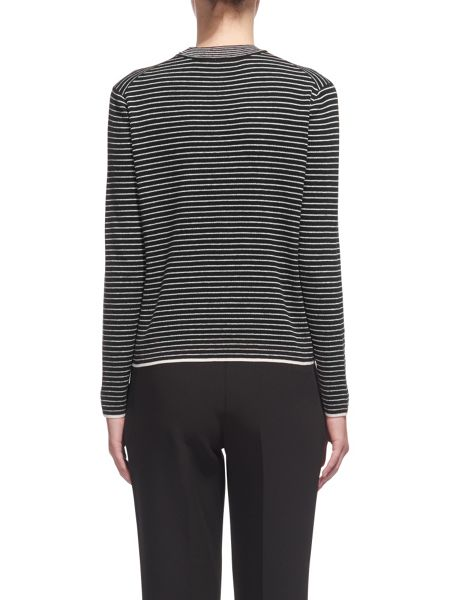 Whistles Stripe Grown On Neck Knit