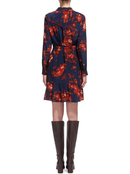 Whistles Brushed Floral Silk Dress