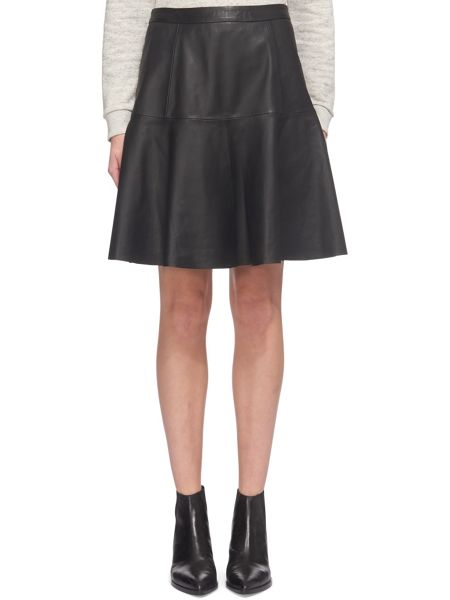 Whistles Fit and Flare Leather Skirt