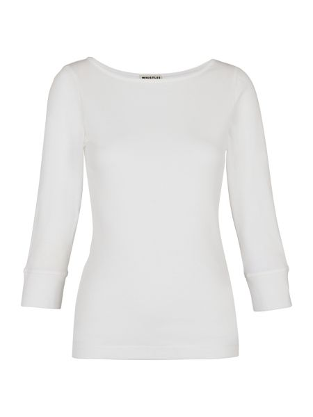Whistles Cotton Modal 3/4 Sleeve Basic