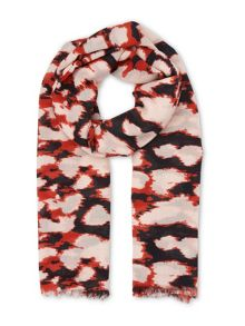 Whistles Olive Animal Print Scarf