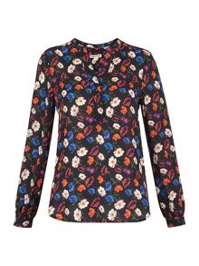 Whistles Pansy Print Silk Blouse